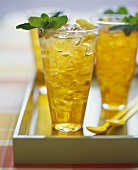 Three Tall Glasses of Ice Tea with Mint Garnish
