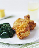 Baked Chicken with Wilted Spinach
