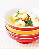 Tortellini Soup in Stacked Bowls