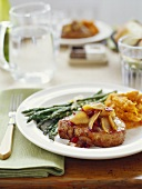 Fruit Topped Pork Chop with Vegetables