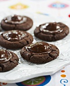Chocolate Cookies with Chocolate Covered Cherries in the Center