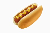 A Hot Dog with Mustard on White