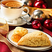Scone with Marmalade; Cup of Tea; Christmas Decorations