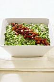 Creamy Peas and Bacon in a Serving Bowl