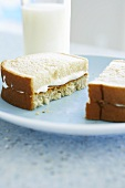 Peanut Butter and Fluff Sandwich on White Bread; With Milk