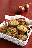 Apple Oat Muffins in a Basket