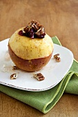 Baked Apple with Walnuts and Dried Cranberries