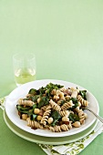 Fusilli with Swiss Chard, Garbanzo Beans and Bacon