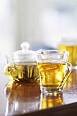 Glass Mug of Tea; Tea Pot