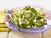 Zucchini Salad with Mint and Feta Cheese
