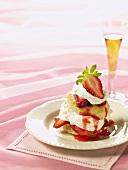 Strawberry Shortcake on White Dish; Champagne