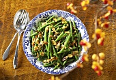 Green Beans with Almonds in a Serving Bowl