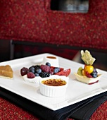 Dessert Sampler; Fruit Pastry,Creme Brulee, Fruit on Whipped Cream and Pie Slice