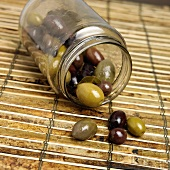 Tipped Jar of Marinated Olives
