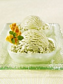 Two Dishes of Green Tea Ice Cream