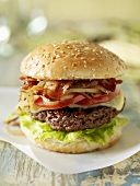 Bacon Cheeseburger with Onion, Tomato and Lettuce
