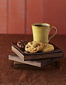Three Assorted Cookies with a Cup of Coffee