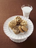 Dish of Assorted Cookies with Milk