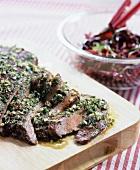 Partially Sliced Flank Steak with Garlic Herb Sauce
