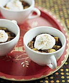 Mochaccino Bread Puddings in Coffee Cups on Tray