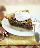 Slice of Pecan Pie with Whipped Cream Dollop
