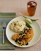 Fried Chicken Tenders with Corn Salsa and Mashed Potatoes