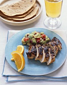 Southwestern Grilled Chicken with Guacamole and Tortillas