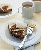 Slice of Marble Pound Cake with Vanilla Ice Cream and Coffee
