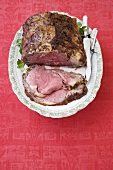 Partially Sliced Prime Rib on a Platter