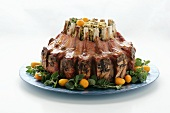 Whole Stuffed Rack of Lamb on a Platter