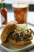 Pulled Pork Sandwich with Cole Slaw; Soda