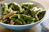 Asparagus and Mushroom in a Serving Bowl