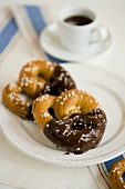 Chocolate Dipped Salted Pretzels; Coffee