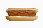 Hot Dog with Ketchup on a White Background