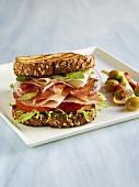 Italian Ham and Turkey Sandwich on Toasted Bread