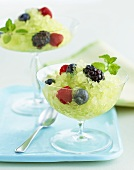 Granita with Fresh Berries and Mint Garnish