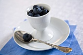 Blueberries in Small Cup; With Spoon