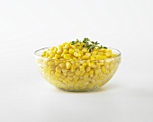 Bowl of Corn on a White Background
