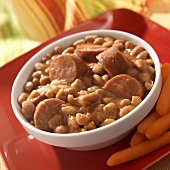 Bowl of Beans and Franks with Baby Carrots