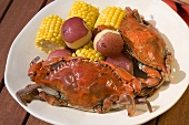 Boiled Blue Crabs with New Potatoes and Corn