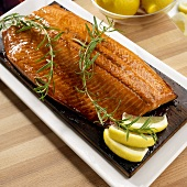 Whole Grilled Salmon Fillet on Cedar Grilling Plank