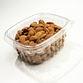 Whole Almonds in Plastic Store Container