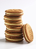 Stack of Ginger Snap Cookies with Lemon Cream Filling