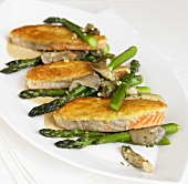 Salmon in Potato Crust with Asparagus and Mushrooms