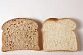 Two Slices of Bread; White and Wheat