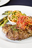 Grilled Beef with Kim Chee and Asparagus