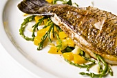 Pan Roasted Barramundi with Mango and Sea Beans