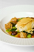 Seared Sea Bass with Fava Bean and Arugula Stew