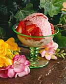 Bowl of Strawberry Sherbet with Fresh Strawberries
