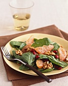 Spinach Salad with Pink Grapefruit, Cranberries and Walnuts